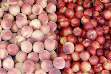 Yummy pile of apples for sale in a market stall