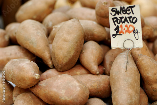 Sweet potatoes at a farmers market