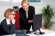 Two cheerful corporate women in office