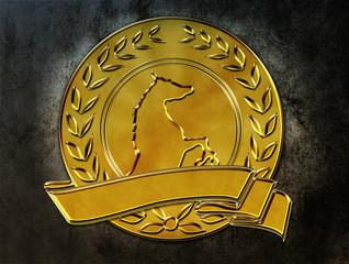 Lorbeerkranz Münze Banner Pferd