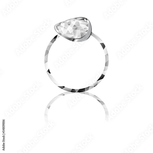 Shiny Diamond ring white background vector