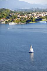 Lago Maggiore aerial view color image