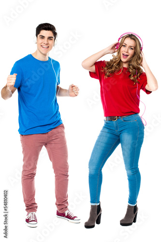 Couple enjoying music and dancing