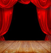 theater curtains and wood floor