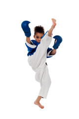Young kid practicing karate