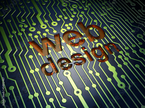 SEO web development concept: Web Design on circuit board backgro