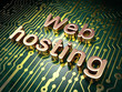 SEO web development concept: Web Hosting on circuit board backgr