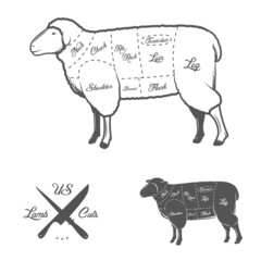 American (US) cuts of lamb or mutton diagram