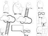 cute kawaii characters in  business scenarios poster