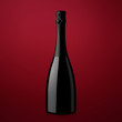 bottle of sparkling wine on a red background