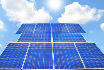 Solar panel - sunny weather, blue sky