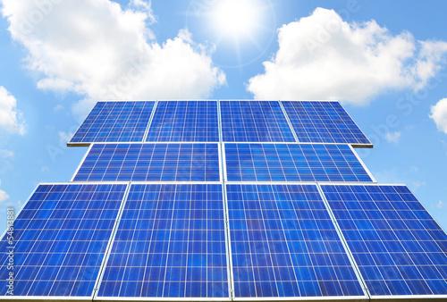 Solar panel - sunny weather, blue sky - 54813881