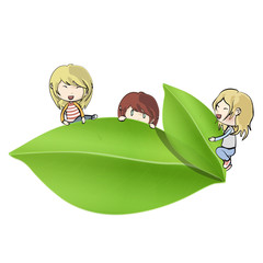 Group of kids around leaf. Vector design
