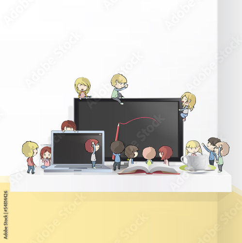 Kids around objects on shelf. Vector design