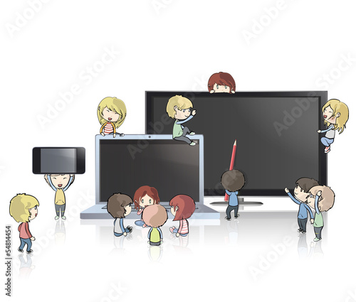 Kids holding TV, computer,CD and phone. Vector design.