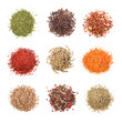 A collection of different spices on white background