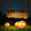 Halloween background with pumpkins and wooden sign in the dark