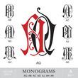 Vintage Monograms AQ AB AC AD AJ AH AK