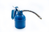 isolated old dark blue metal oil can