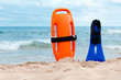 Life-saving equipment on beach