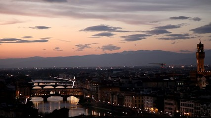 Panoramic view of Florence at dusk.