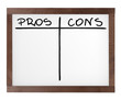 Presentation board (white board) with empty pros and cons table