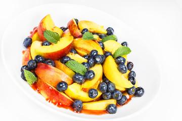 Fruit salad. Blueberry, Nectarine, and Shiso Salad,