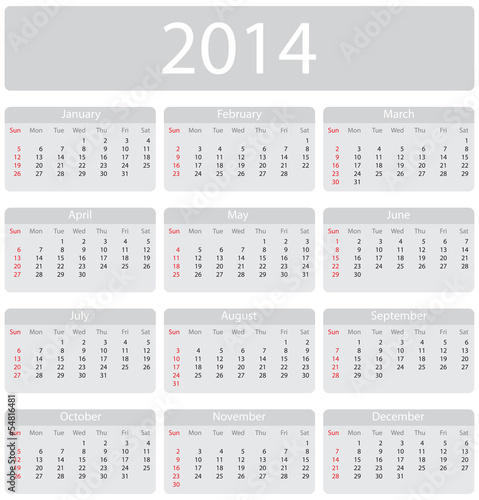 Minimalistic 2014 calendar - week starts with sunday