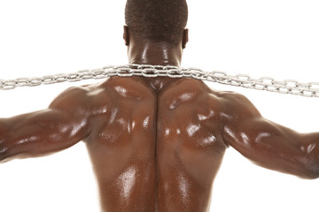 Strong man with chain back neck