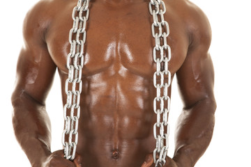 Strong man with chain chest