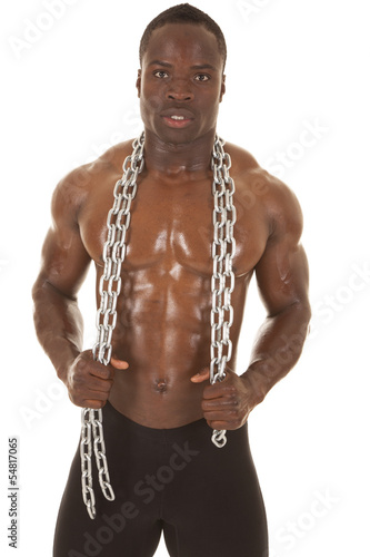 Strong man with chain around neck
