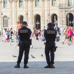 PARIS, FRANCE - July 28 2013: French police control the street a