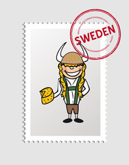 Swedish cartoon person postal stamp