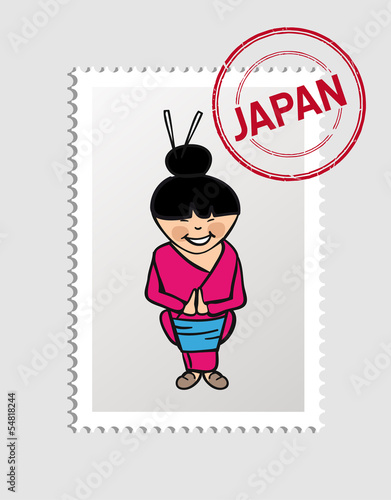 Japanese cartoon person postal stamp
