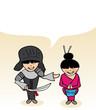 Japanese cartoon couple social speech bubble