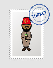 Turkish cartoon person postal stamp