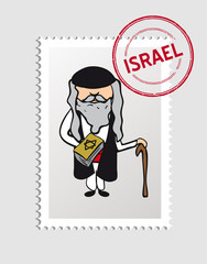 Jewish cartoon person postal stamp