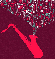 Saxophone music notes splash