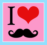 print I love mustaches, hipster style. vector  background