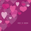 vector textured fabric hearts corner frame pattern background