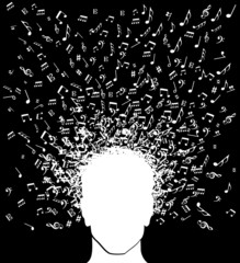 Music notes man head splash
