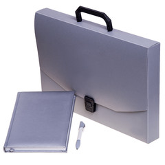 Grey briefcase with accessories