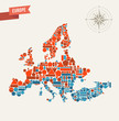Europe geometric figures map illustration