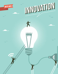 Innovation idea light bulb workgroup illustration.