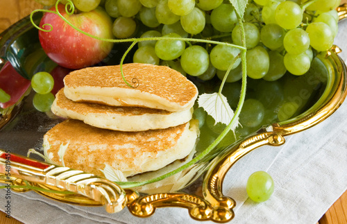 pancakes and grapes