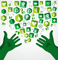 Green hands recycle flat icons illustration