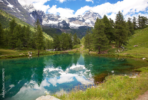Cervinia, Valle d'Aosta, Italy. Lake blue.