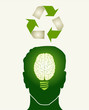 Green recycle concept head illustration