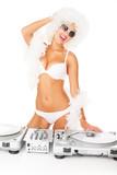 sexy dj woman on white djing