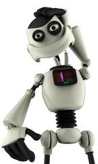 white robot thinking close up
